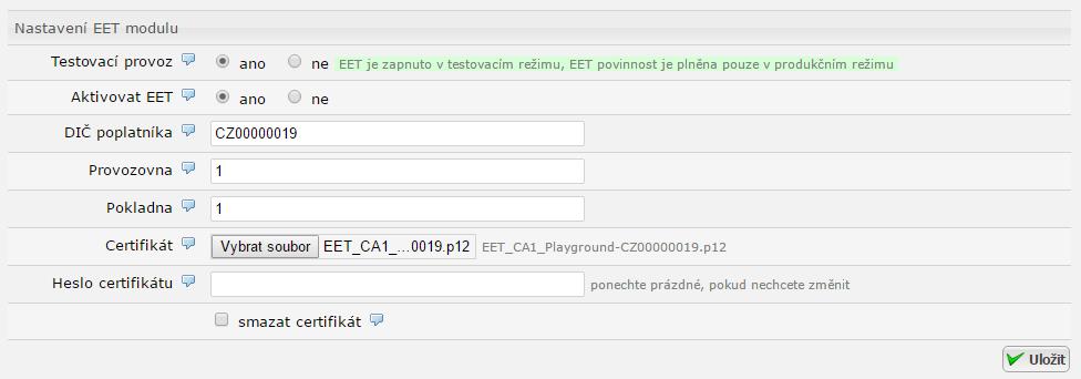 EET - Nastavení modulu